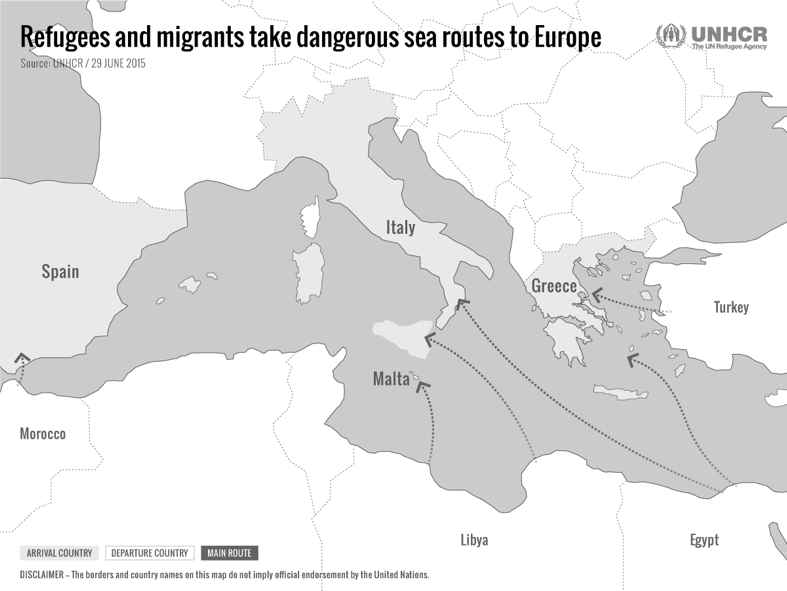Figure 1. Main migrant routes to Europe, 2015